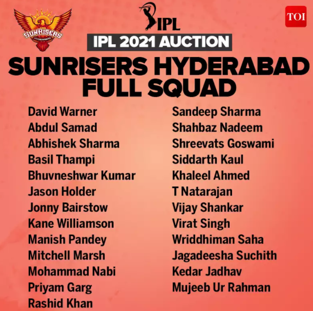 Complete list of players in Sunrisers Hyderabad