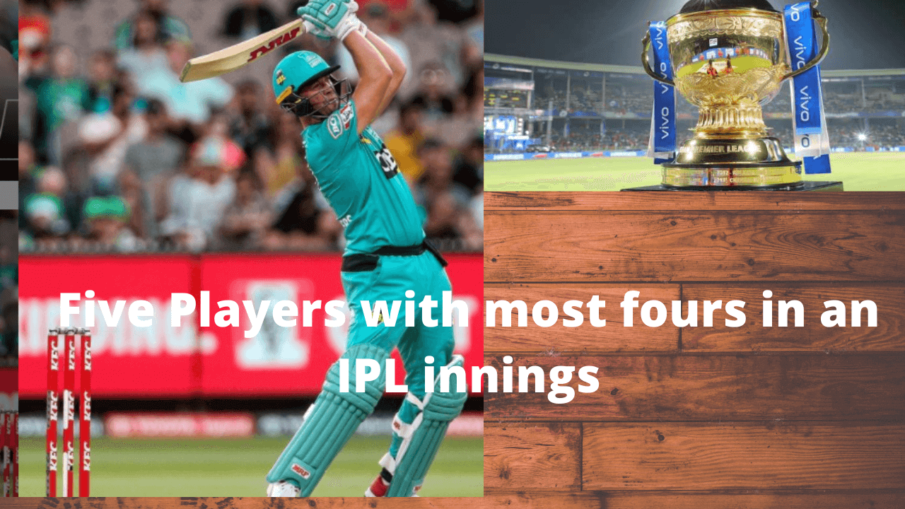 Five Players with most fours in an IPL innings