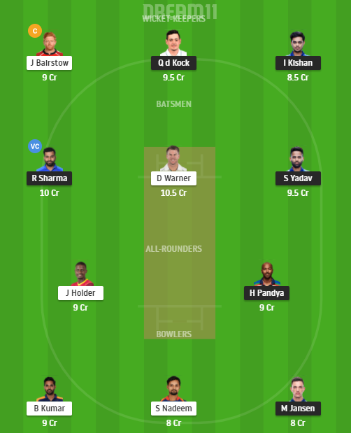 IPL 2021 MI vs SRH Dream11 Prediction