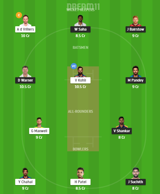 PL 2021 RCB vs SRH Dream11 Prediction